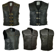 Mens Black Buffalo Leather Biker Motorcycle Rider Vest With Side Straps