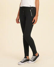 Abercrombie and Fitch by Hollister Leggings Women's Moto Fleece XS Black NWT
