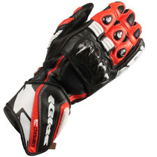 Spidi Carbo 3 Leather Motorcycle Motorbike Gloves - Red