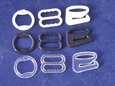 10x Bra Strap Adjustment Slider Hooks or Rings 10 mm Black, White or Transparent