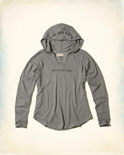 Abercrombie and Fitch by Hollister T-Shirt Women's Hooded Logo Tee XS Grey NWT