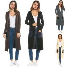 New Women Casual Collarless Long Sleeve Contrast Color Elastic Cardigan OO55 01