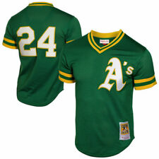 1991 Mens MLB Oakland Athletics Rickey Henderson No.24 Cooperstown Green Jersey