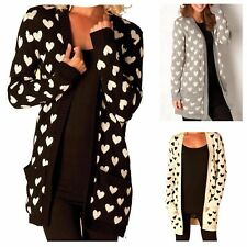 WOMENS LOVE HEART PATTERN POCKET KNITTED CARDIGAN LADIES JUMPER PLUS SIZE 8-22