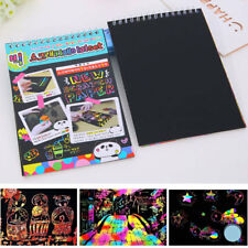 Art Children Drawing Pen Stick 10 Sheets Colorful Scratch Painting Paper Book