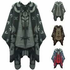 Ladies Women Wrap Shawl Poncho Winter Plain Flower Print Cape Jacket UK