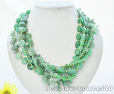Z7075 5Strds green rice & round & coin & dens jade bead necklace 20inch