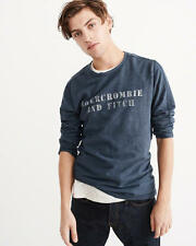 Abercrombie and Fitch T-Shirt Mens Logo Cotton Crew Neck Long Sleeve XL Blue NWT