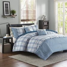 Twin XL Full Queen King Size Bed Teal Blue White Plaid Sporty 5 pc Comforter Set