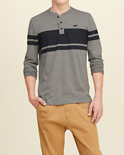Abercrombie and Fitch by Hollister T-Shirt Mens Striped L/S Henley L XL Grey NWT