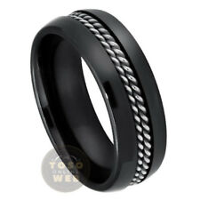 Men's 8mm Dome Black Ceramic Ring w/ Double Rope Stainless Steel Inlay CR3400