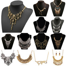 Womens Bib Necklace Crystal Flower Pearl Pendant Chunky Chain Collar Statement