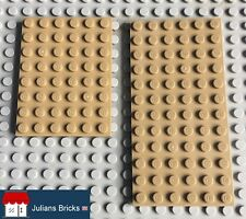 LEGO Flat Plates, Genuine, Dark Tan, Various Sizes: 6 x 8, 6 x 12