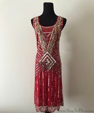 Crimson Red Art Deco Cocktail Dress | Beaded Sequin Flapper Gatsby Gown | NWT