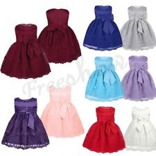 Infant Kid Baby Girls Floral Embroidered Bow Flower Dress Princess Recital Party