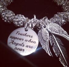 Angels Feathers & Quotes - Swarovski Crystal Bead Bracelet Christmas Angel Wing