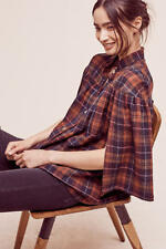 NEW Anthropologie Plaid Tess Wool Top by Christine Alcalay Size XS (Orig.$258)