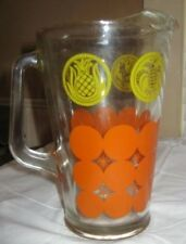 VINTAGE RETRO LARGE ORANGE YELLOW GLASS WATER PITCHER