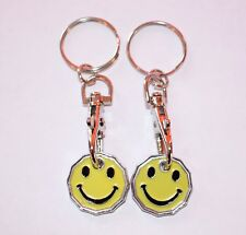 SMILEY FACE ONE POUND COIN TOKEN KEYRING SHOPPING TROLLEY KEYRING Free