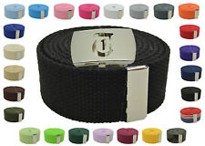 """Canvas Military Web Belt & BIG """"T"""" Silver Buckle 48, 54, 60, 72 Inches 25 Color"""