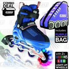 Crazy™ Kids Inline Roller Skates Blades Blue  Light up Wheels Adjustable Sizes