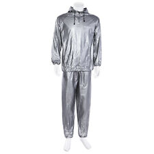 Silver Mens Sauna Wrap Sweat Suit Sauna Exercise Gym Suit Fitness Weight