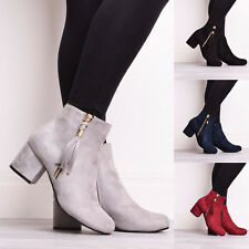 Ladies Womens Suede Black Grey High Mid Block Heel Tassel Ankle Boots Shoes Size