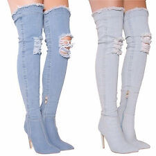 LADIES WOMENS DENIM BOOTS HIGH HEELS POINT OVER THE KNEE RIPPED CELEBS SHOE SIZE