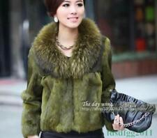 Womens Fox Fur Collar Real Genuine Fur Jacket Outwear Garment Coat Winter Twenty