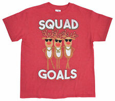 Reindeer Squad Goals Youth Boys Christmas Graphic T-Shirt - Red