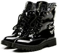 Punk Women Patent Leather Rock Motorcycle Military Ankle Boot Rivets Skull Shoes