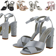 Womens Bridal Strappy Sandals Diamante Heel Ladies Satin Ankle Strap Party Shoes