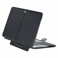 MacBook Air 13 Inch PU Leather Folio Stand Case for A1466 A1369 3D Square Black