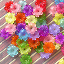 Happy Garden 086 : Acrylic Mix Color Flower Beads, 14x4mm