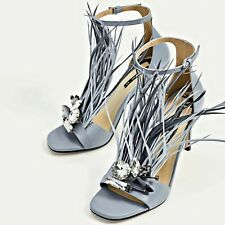 ZARA Blue High Heel Leather Sandals Gem And Feathers Woman Authentic 2680/201