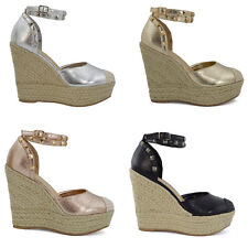 New Womens High Wedge Heel Platform Sandals Ladies Ankle Strap Espadrilles Shoes
