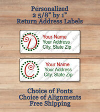 """Personalized Whismical Christmas Monogram Return Address 2 5/8 by 1"""" Labels"""