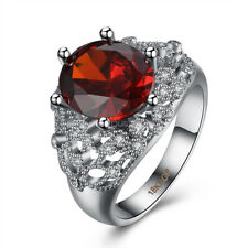 18K White Gold Plated Ruby Crystal Engagement Ring Women Jewelry R056