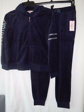 NWT JUICY COUTURE VELOUR EMBELLISHED HOODIE & JOGGER PANTS REGAL BLUE LARGE