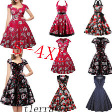 Plus Size Vintage SKULL Swing Dress Retro 50s Rockabilly Party Pin Up Ball Prom
