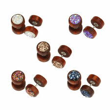 TIMBER GLITTER Fake Cheater Ear Plug Piercing Stud Ring Jewellery Wooden CH13