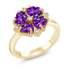 1.68 Ct Heart Shape Purple Amethyst 18K Yellow Gold Plated Silver Ring