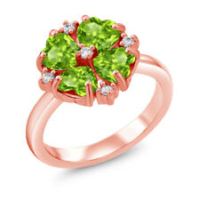 2.08 Ct Heart Shape Green Peridot 18K Rose Gold Plated Silver Ring