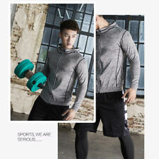 Mens Soft Zip Up Woven Sports Jacket Tracksuit Track Top Yoga Coat Hoodie