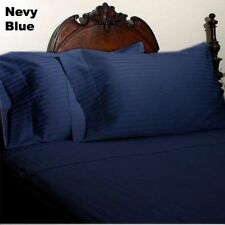 1000 THREAD COUNT NAVY BLUE STRIPE EGYPTIAN COTTON UK BED SHEET SET/DUVET/FITTED