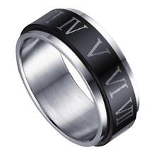 Gothic Steampunk Black Silvery Stainless Steel Roman Numerals Ring Size 10-12