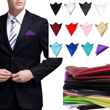 Mens Polyester Silk Handkerchief Pocket Square Pure Wedding Party US Warehouse