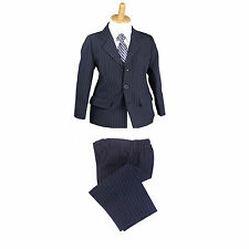 NEW Kids Boys 2pcs Formal Suit Set Wedding Jacket-Pants sz 000–16 NAVY PINSTRIPE