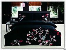 400TC 100% Cotton Black Red White Tree Embroide KING QUEEN QUILT DOONA COVER SET