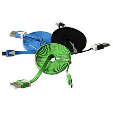 3-10Ft Flat Noodle Micro USB Charger Sync Data Cable Cord for Android Phone LW